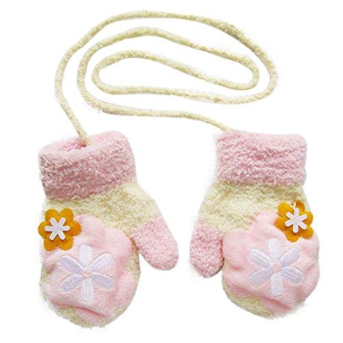 LNGRY 0-12 Months Baby Girl Boy Coral Velvet Winter Warm Glove Mitten (Pink)
