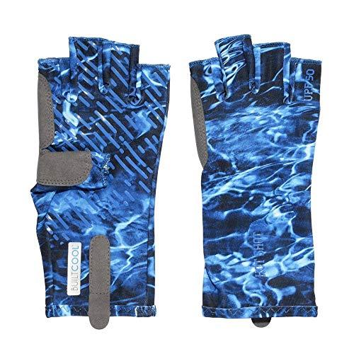 HOT SHOT Men's Fingerless Fishing Gloves, Mossy Oak Elements Agua - Marlin, Large
