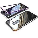 Cierre magn/ético, Parte Trasera de Cristal Templado Transparente, 360/°, Ultrafina Fantasydao Small Negro Carcasa de Metal para Samsung Galaxy A70