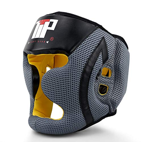 ZHXQ Cascos Boxeo Cuero Sparring Kickboxing Casco Protector Entrenamiento Lucha,Guardia Protector de Cabeza Cara de Ahorro de Casco con la Cara Frontal extraíble Grill,Unisex Adulto