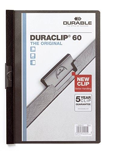 Durable 223801 Klemm-Mappe Duraclip Original 60 (Hartfolie, bis 60 Blatt A4) 5 Stück schwarz