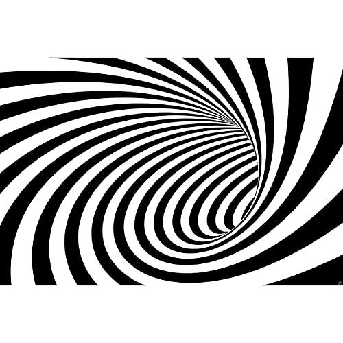 GREAT ART® Mural De Pared – Túnel De Efecto Doppler En Blanco Y Negro – Moderno Abstracto Espiral Ilusión Óptica Foto Papel Pintado Y Tapiz Y Decoración (210 X 140 Cm)