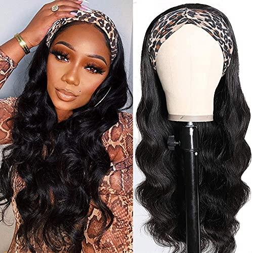 Hedy Headband Wig Human Hair Wigs for Black Women Glueless Brazilian Body Wave Head Scarf Wigs None Lace Front Wigs Human Hair 150% Density (18 inch)