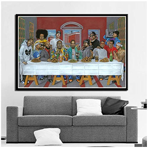 dubdubd Hip Hop Music Rapper Star Legend The Last Supper Canvas Wall Pictures for Living Room Home Decor -24X36 Inch No Frame 1 Pcs