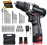 Cordless Drill Set with 2 Batteries, 12.8V 28Nm Powerful Electric Drill Screwdriver Set 31Pcs (2x3900mAh Batteries, 2 Speed, 25+1 Clutch, 10mm Automatic Chuck, Built-in LED Light) for DIY Project