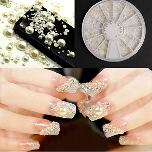 1 Box 3D Nail Art Dekoration Zuchtperle Imitat Maniküre Zubehör Glitzersteine Schmucksteine zum Aufkleben Multi-Größe Hälfte Perle 2mm 3mm 4mm 5mm R241