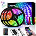 49.2ft LED Strip Lights, Elfeland Music Sync RGB Strip Lights 5050 Color Changing Flexible Strips Lights APP Control Rope Light Kit with 24 Keys Remote for Home Kitchen Indoor Decoration