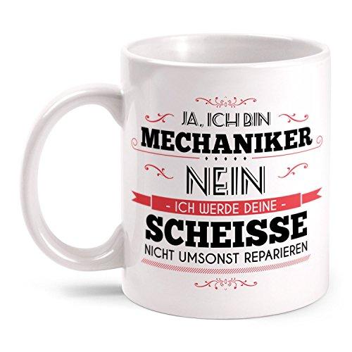 Fashionalarm Tasse Mechaniker beidseitig bedruckt mit Spruch & Totenkopf Motiv   Lustige Geschenk Idee für Kfz Mechaniker Auto Schrauber Beruf, Farbe:weiß