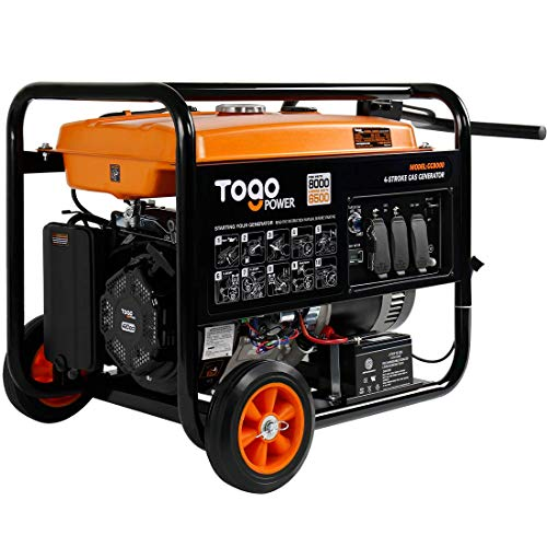 Togo Power GG8000 Portable Gas Generator 8000 Peak Watts with Electric Start - CARB Compliant Generator Backup Home Use RV Ready Camping Generator with Rain Cover