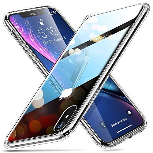 """ESR Funda iPhone XR, Funda Cristal Templado [Imita la Parte Posterior del Vidrio del iPhone XR] [Resistente a los Arañazos] + Borde de Silicona Suave [Amortiguación] para Apple iPhone XR de 6.1""""-Transparente"""