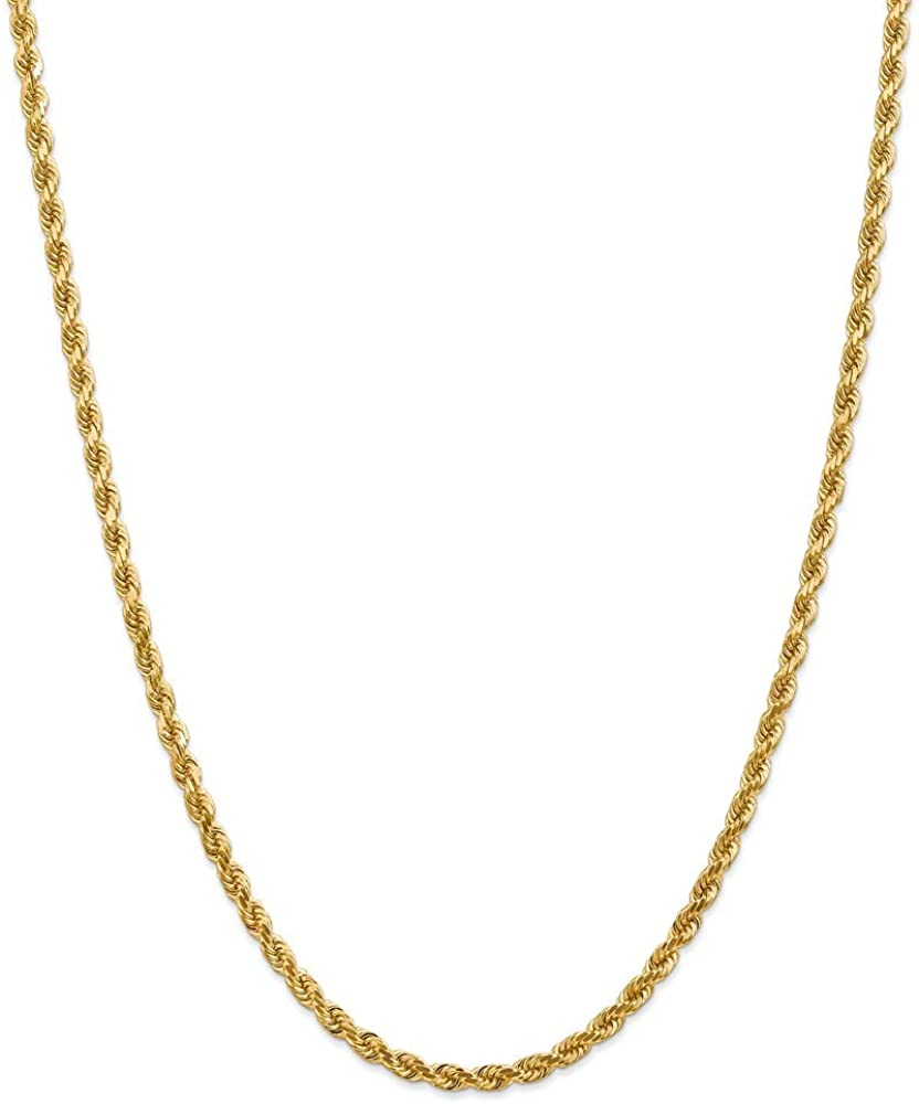 14k Yellow Gold 4mm Link A surprise price is realized Rope Chain 22 Cha Necklace Inch Pendant Cheap bargain