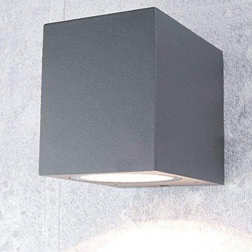 Kompakte Wandleuchte außen eckig anthrazit GU10 IP44 Außenstrahler Wand-Lampe down für Hauswand Garten Hof