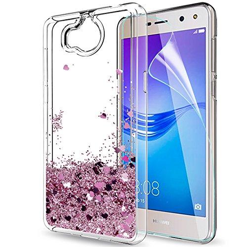 LeYi Funda Huawei Y6 2017 Silicona Purpurina Carcasa con HD Protectores de Pantalla,Transparente Cristal Bumper Telefono Gel TPU Fundas Case Cover para Movil Huawei Y6 2017 ZX Oro Rose
