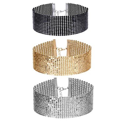 Topocean Mehrfarbig Verstellbarer 3.5CM Rhinestone Kristall Choker Halsband Set Breit Collar Chic Schmuck Choker für Frauen Dame Geschenk, 3 Stück (Schwarz, Gold, Silber)