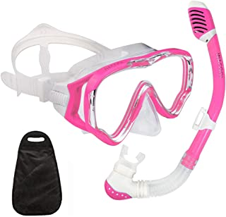 WACOOL Snorkeling Snorkel Package Set for Kids Youth Junior,  Anti-Fog Coated Glass Diving Mask,  Snorkel with Silicon Mouth Piece, Purge Valve and Anti-Splash Guard.