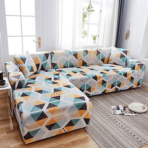 Fundas de sofá Chaise Longue Impresas en Forma de L para Sala de Estar Protector de sofá Fundas elásticas Antipolvo para sofá de Esquina A12 de 4 plazas