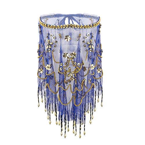 Agoky Femme Fille Voile Moitié Visage Danse du Ventre Maille Perles Voile Tribal Danse Orientale Arabe Égyptien Accessoire de Costume Robe Carnaval Halloween Soirée Bal Royal Bleu Taille Unique