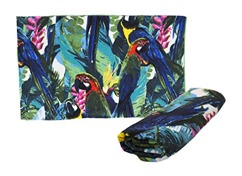 takestop badhanddoek Mare 80 x 180 cm, strandhanddoek van polyester voor strand en reizen, sneldrogend, licht, voor dames en heren, Parrot Jungle