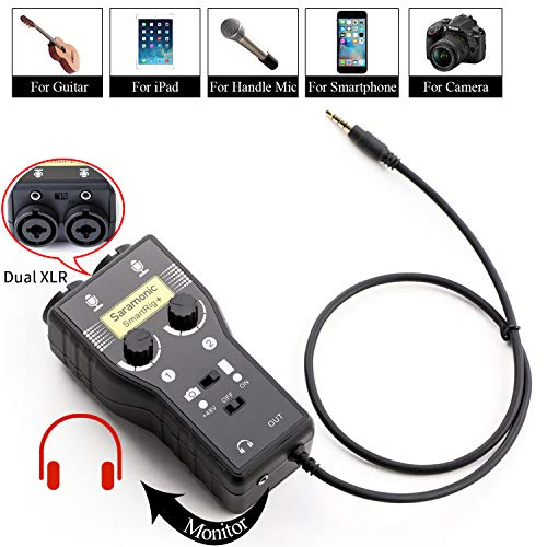 Saramonic SmartRig+ 2-Channel XLR/3.5mm Karaoke Microphone Audio Mixer with Preamp & Guitar Interface for DSLR Cameras Camcorder iPhone X 8 8x 7 7 plus iPad iPod Android Smartphone Guitar
