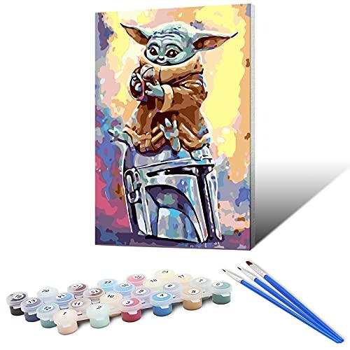 Yefun DIY Paint by Numbers, Pintura por Números para Adultos, Principiantes y Niños, Kit de Pintura al óleo Sobre Lienzo con Pinceles y Pigmento Acrílico (40x50cm)