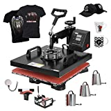 VIVOHOME 8 in 1 Combo Multifunctional Swing Away Clamshell Printing Sublimation Heat Press Transfer Machine for T-Shirt Hat Cap Mug Plate 15 x 15 Inch