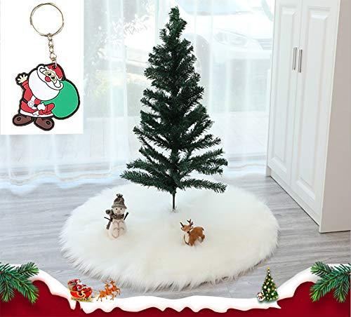 Greenf Weihnachtsbaum Decke, Weihnachtsbaum PlüSch Teppich Rund 90cm Baumdecke Weihnachtsbaum Decke Weiß Fell Groß Christbaumdecke Bodendekoration, weihnachtsschmuck (90cm)
