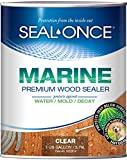 SEAL-ONCE MARINE - 1 Gallon Penetrating Wood Sealer, Waterproofer & Stain. Water-Based, Ultra-low VOC formula for high-moisture areas to protect wood docks, decks, piers & retaining walls.