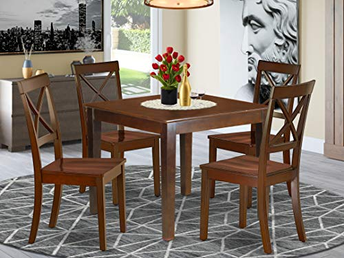 """5Pc Square 36"""" Dining Table And 4 Wood Seat Dining Chairs"""