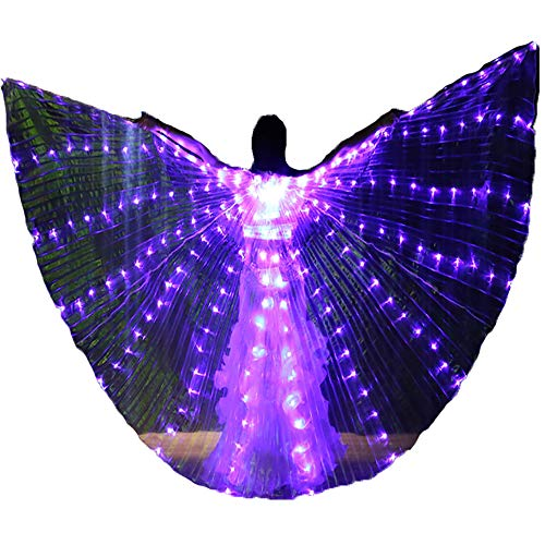 Belly Dance LED Isis Wings with Telescopic Sticks Glow Light Up Angel Costumes (Purple)