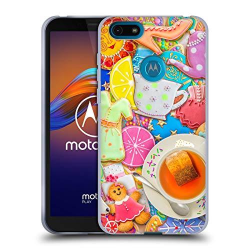 Officiële Aimee Stewart Thee En Koekjes Kleurrijke snoepjes Soft Gel Case Compatibel voor Motorola Moto E6 Play