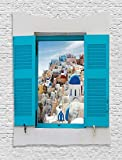 ABAKUHAUS Grecia Tapiz de Pared, Persianas Viejas Ventana, para el Dormitorio Apto Lavadora y Secadora Estampado Digital, 100 x 150 cm, Multicolor