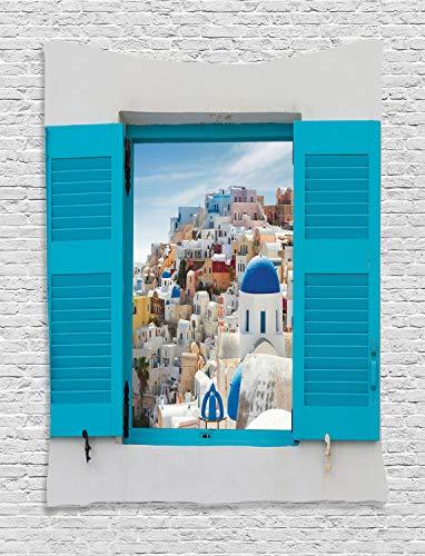 ABAKUHAUS Griechenland Wandteppich, Fenster alte Fensterläden, Wohnzimmer Schlafzimmer Heim Seidiges Satin Wandteppich, 100 x 150 cm, Mehrfarbig