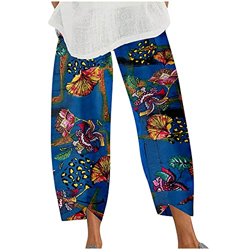 1111 Cropped Pants Women's Linen Trousers Casual Cotton Pants Loose Fit Harlan Baggy Elastic Waist Trouser with Pockets Flower Graffiti Print Fashion Sports Pants