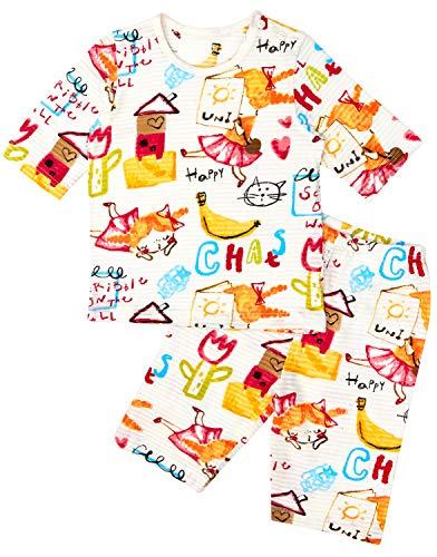 Unifriend 7分袖7分丈 女児 キッズ パジャマ オーガニック 綿100% 子供 ルームウェア ねまき 上下セット (ハッピーユニ, 120cm (5-6歳))