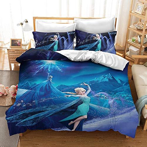 Disney Frozen Juego de ropa de cama de 3 piezas de microfibra suave y cómoda funda de almohada para cama infantil dormitorio decoración (03, 155 x 200 cm (80 x 80 cm)