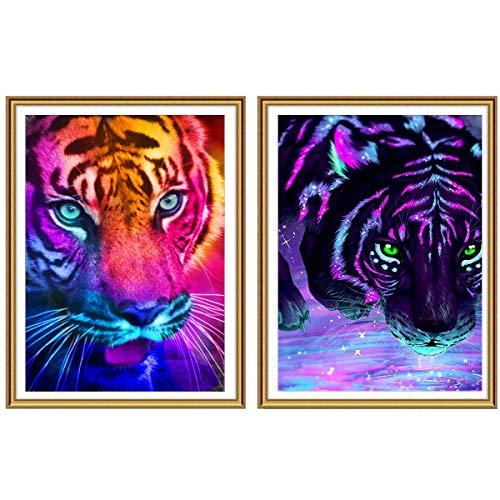 Ginfonr 5D Diamond Painting Diamante Pintura Tigre Bestia Animal Agua Por Kits Numéricos Pintura De Taladro Completo Con Decoración De Pared De Diamantes Art 30 * 40 cm, 2Pack