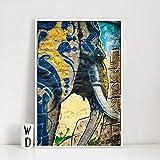 KWzEQ Cartel Moderno del Arte de la Pared de la Lona Elefante del Arte de la Pared del Graffiti para la decoración del hogar de la Sala de Estar,Pintura sin Marco,60x90cm