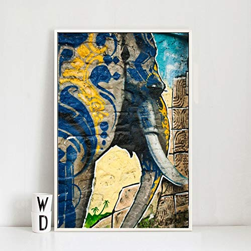 BailongXiao Cartel Moderno del Arte de la Pared de la Lona Elefante del Arte de la Pared del Graffiti para la decoración del hogar de la Sala de Estar,Pintura sin Marco,45x67cm
