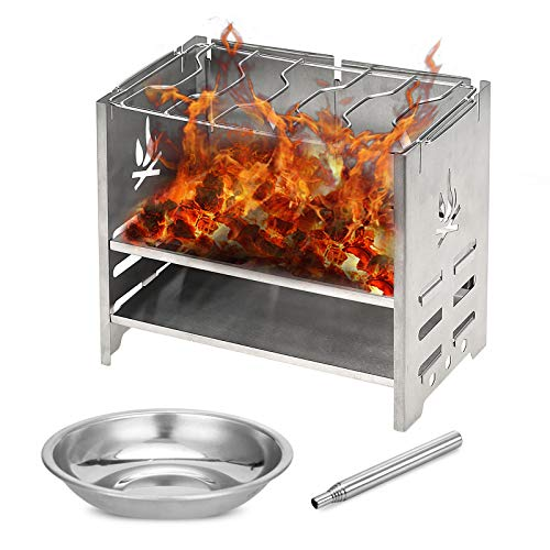 Lixada Wood Burning Stove Camping BBQ Grill Foldable Portable Camp Stove with Alcohol Tray and Below for Picnic BBQ