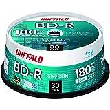 【Amazon.co.jp限定】 バッファロー ブルーレイディスク BD-R 1回録画用 25GB 30枚 スピンドル 片面1層 1-6倍速 ホワイトレーベル RO-BR25V-030PW/N