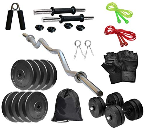 RV Home Gym Set, Home Gym Combo, Gym Equipment, PVC Plates Combo with 3Ft Curl Bar, Dumbbell Rods, Gym Bag with Accessories 10KG Set (Black)