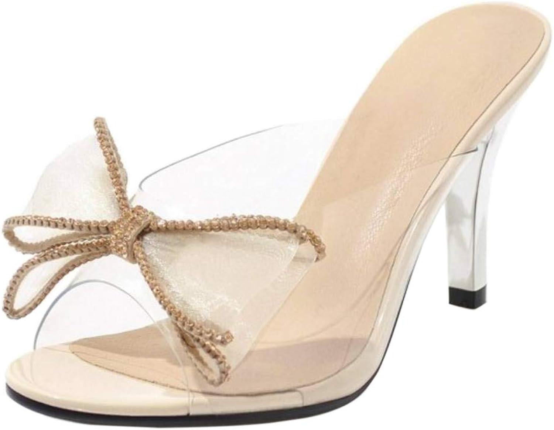 TAOFFEN Women Fashion Transparent Slide Sandals Bowknot