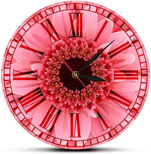 Orologio da parete Gerbera rosa Fiore Retro Numeri romani Orologio da parete Gerbera rosa Margherita Acquerello Floreale Decorazione da parete Movimento silenzioso Orologio da parete Silenzioso Per so