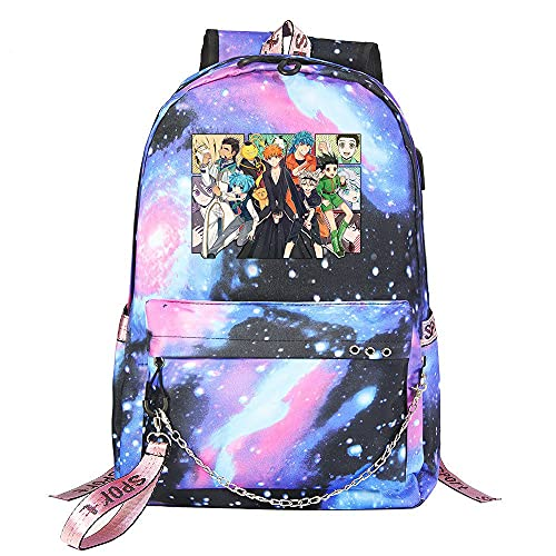 ZZGOO-LL Assassination Classroom With chain USB Anime Zaini backpack Scuola per Uomo Donna, Lavoro, Tablet Unisex Starry sky-A