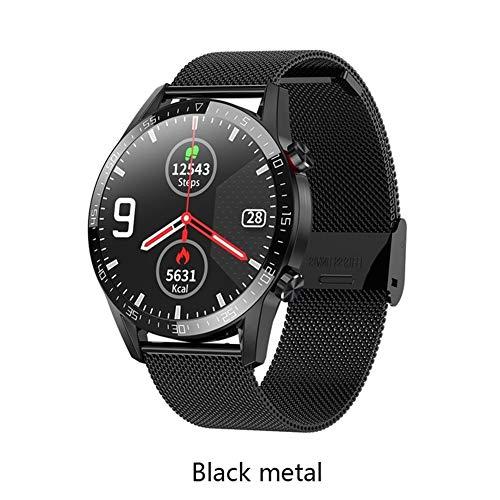 2020 Reloj Elegante L13 Llamada Bluetooth ECG PPG Ritmo cardíaco rastreador de Ejercicios Presión Arterial IP68 a Prueba de Agua SmartWatch VS L11 L8 Relojes Inteligentes (Color : Black Metal)