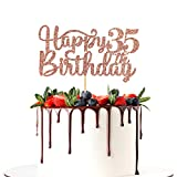 Halodete Glitter Happy 35th Birthday Cake Topper - 35th Birthday/Anniversary Party Supplies - Cheers to 35 Years Party Decoration Rose Gold
