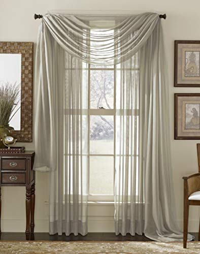 """Luxury Discounts Beautiful Elegant Solid Grey/Gray Sheer Scarf Valance Topper 38"""" X 216"""" Long Window Treatment Scarves"""