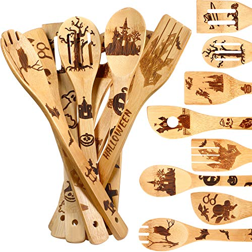 8 Pieces Halloween Cooking Utensils Burned Wooden Spoons Wood Slotted Serving Spoon Spatula for Halloween Home Kitchen Warming Wedding Tableware