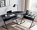 L Shaped Desk with Keyboard Tray Reversible Gaming Desk Corner Computer Desk for Home Office, Black Wood & Steel Frame Writing Study PC Workstation Table for Small Space