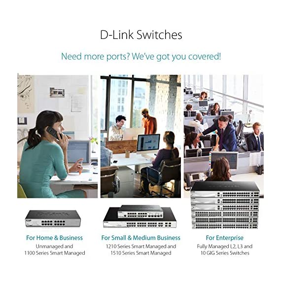 D-Link Fast Ethernet Switch, 16 20 Port SmartPro Managed Stackable w/ 2 Gigabit SFP Ports & 2 10GbE SFP+ Ports (DGS-1510… 5 Ideal for SMB networks with large bandwidth demands requiring 10G uplinks, Physical Stacking, and L3 Static Routing Security features include IP-MAC-Port binding, Safeguard Engine, ACL, and ARP Spoofing Prevention IPv6 management / IPv6 Neighbor Discovery / IPv6 static routing